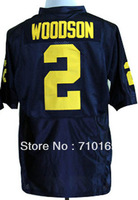 Free Shipping Michigan Wolverines Charles Woodson 2 Navy Blue College  mix order