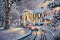 Thomas Kinkade Original landscape oil painting ( Graceland Christmas ) Art print reproduction decor Free shipping+Museum quality