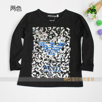 8823 clothing male female child baby 100% cotton long-sleeve basic t-shirt shirt sweatshirt