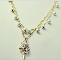 Shining beautiful big gem key pearl dot double layer long necklace pendant
