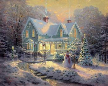 Kanvas cetak berkah lukisan minyak natal pemandangan salju lukisan