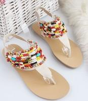 2013 New Free Shipping Women's Summer Beach Bead Embellished Summer Flip Flop Flat Sandal White W10070309-1
