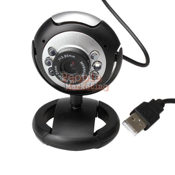 8 Mega Pixels 50M 6 LED USB Webcam Camera with Mic for PC Laptop Computer P4PM(China (Mainland))