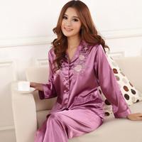 2014 New women's spring and autumn cardigan Imitation silk sleepwear plus size embroidery silk Pajamas sets
