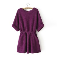 New arrival !  fashion European style women's winter slim sweater dress media sleeve pullovers dresses 5 colors SW1026