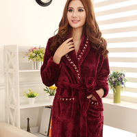 2014 New Plus size women coral fleece robe bathrobes autumn and winter thickening super soft flannel sleepwear
