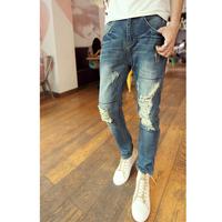 free shipping 2013 fashion mens jeans wash water big hole low-rise denim pants