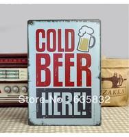 20*30CM COLD BEER HERE Vintage Tin Sign Retro Plaques Antique Imitation Decorative Panel Bar Decor