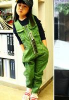 2013 Boy's girl's sleeveless lightning spray painting jumpsuits kids denim overalls kids jeans pants army green