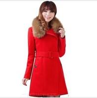Free shipping 2014 autumn and winter women Wool Coat  slim outerwear medium-long plus size wool woolen overcoat female