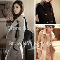2014 new autumn and winter fashion slim wool turn-down collar women's woolen  thermal thickening outerwear coat CJ10253