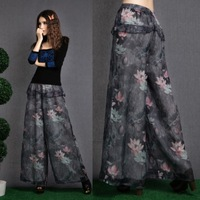 New arrival why2013 women's print chiffon wide leg pants casual all-match chinese style trousers
