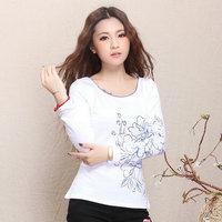 Emma chinese style 2013 women's national trend peony print slim basic t-shirt basic shirt