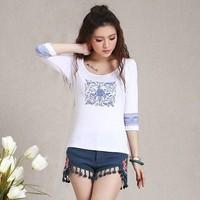 Chinese style women's loose elastic modal basic shirt national trend print vintage female long-sleeve t-shirt