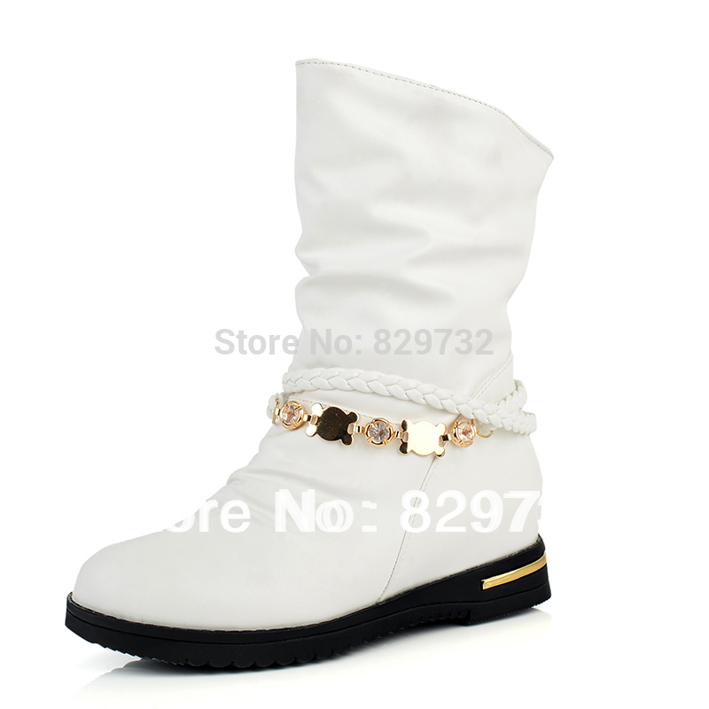 aliexpress popular winter white leather boots flat in shoes
