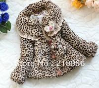 New arrived!Girls cute winter leopard fur coat kids warm plush lace jacket Korean fashion wadded outerwear,wholesale