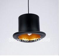 design 110v 220v e27 lamp holder Jeeves & Wooster Top Hat Pendant Lights aluminum hat light for home Outside Black Inside Golden