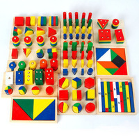 14 piece per set Montessori Baby educational wooden geometry shape wood building blocks teaching toys