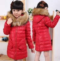 Children's winter clothing jacket girls down coat free shipping child down parkas raccoon fur outerwear winter coat for girls