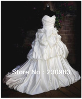 Stunning Sweetheart  Backless Sleeveless Ruched / Ruffles Satin Fabric A Line Wedding Dress 2013 with Sweep Train Free Shipping