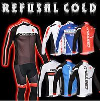 5 Style! 2013 castelli Thermal Fleece Cycling Jersey Long Sleeve and Cycling bib Pants/cycling clothing/maillot cycling