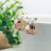 ED003 Hot Sale 2014 Fashion Stud Earrings Ks Style New Hollow Out Earrings for Women brincos High Quality