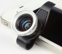 1PCS Free shipping High quality  universally mobile cell phone macro lens + wide Angle clip Lens for iphone 4/4s ipad