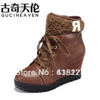 2013 fashion japanned leather boots wedges ankle boots women's shoescasual shoes 35-40