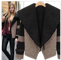 Fashion female short jacket trend of the all-match thickening woolen patchwork berber fleece outerwear for women free shipping