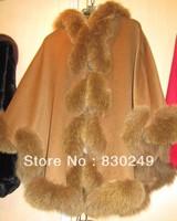 "80cm cashmere cape with 4"" twist  fox fur trim  with hood"