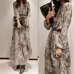 2013 spring serpentine pattern print bohemia full dress female long-sleeve chiffon 2 piece set one-piece dress  LY Princess
