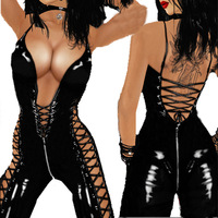 HOT SALE Ladies Black PVC Faux Leather Zipper Bodysuit Sexy Jumpsuit Clubwear Game Role Gothic Fetish Clothing 9099 MOBAN