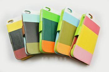 Hit Color PU Leather Wallet Case for iPhone 5C 500pcs/lot