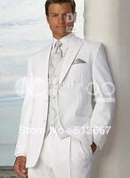 2014 cheap Groom Tuxedos White Groom Tuxedos Men's Wedding Dress suits Prom Clothing (Jacket+pants+tie+vest)