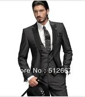 2014 cheap Groom Tuxedos New Arrival Groom Tuxedos Men's Wedding Dress Prom Clothing(Jacket+pants+tie+vest)) SM130