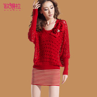 Autumn 2013 clothing batwing sleeve long-sleeve slim one-piece dress sweater dress d3852