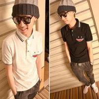 M L XL 2 colors free shipping 2013 new men's polo shirt  smiley pocket casual short-sleeve polo shirt