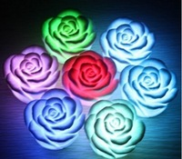 Freeshipping Chirstmas Gift Romantic living 7 color changing LED lamp LED Rose Flower Candle lights room decoration night light