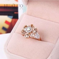 2014 New Arrived Fashion Elegant Drill Full Rhinestone Flower Ring R743