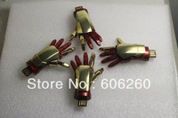 Free shipping 2013 most latest Iron man usb machine hand usb flash drive 1GB,2GB,4GB,8GB,16GB,32GB,64GB