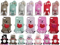 New arrival Rabbit/Panda/Bear 3D Silicone Back Cover Case For Apple Iphone 5 5s 5G