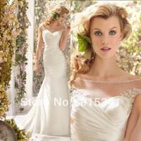 Fresh Looking Scoop Neck Appliques Pearls Satin Pleats See Through Back 2014 Mermaid Wedding Dresses