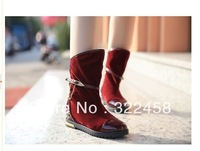 size 35-The comfortable slope with snow boots nubuck leather boot fashion fur boots