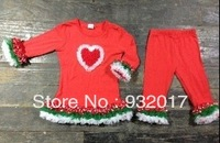 new design baby girls christmas clothing set long sleeves dress and pant set free shopping