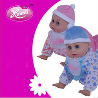 free shipping,Music crawl evade glue girl dolls, Simulation  infant   can climb sing pink blue baby toy