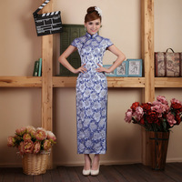 Blue and white porcelain cheongsam formal dress 2013 fashion the bride married long slim design formal dress