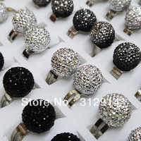 Mix Color 50pcs Wholesale Jewelry Lots Crystal Resin Ball Rings Best Gift Free Shipping