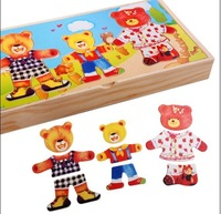 Clothing wooden bear puzzle wooden child puzzle wool toy