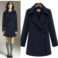 Free shipping 2013 autumn and winter   winter fashion coat  slim double breasted woolen outerwear   warm winter coat outerwear