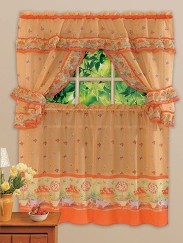 kitchen windows curtain with printed flowers , one set includes 5 pieces of curtains free shipping